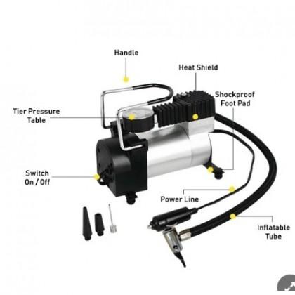 Air Compressor Portable Mini Tire Inflator Pump 12 Volt Car Heavy Duty Metal