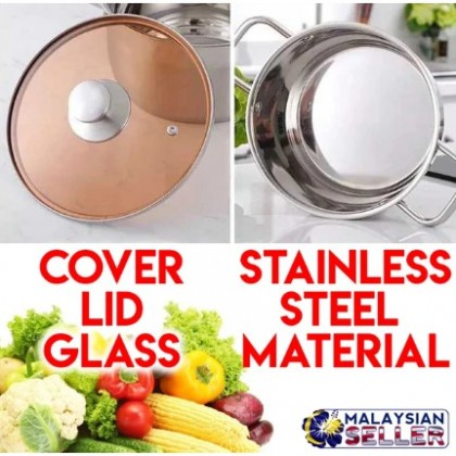 Periuk Stainless Steel Soup Pot With Lid Cover 24cm