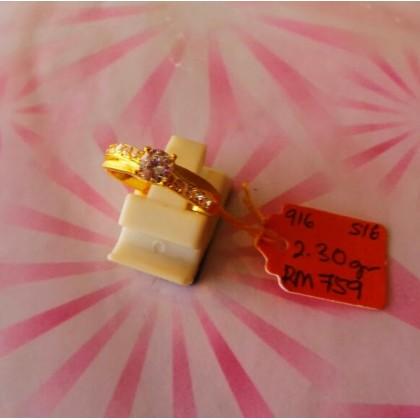 Cincin Batu Wanita emas 916 2.30 gram saiz 16