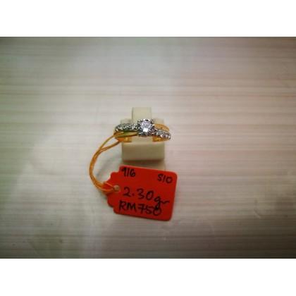 Cincin Batu Wanita emas 916 2.30 gram saiz 10
