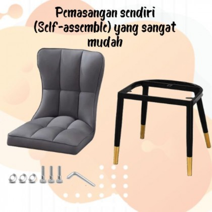 Estela Nordic Dining Chair Kerusi Makan PU Leather Moden