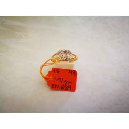 Cincin Batu Wanita emas 916 1.61 gram saiz 13
