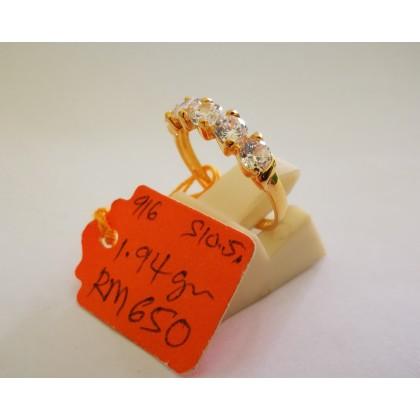 Cincin Batu Wanita emas 916 1.94 gram saiz 10.5