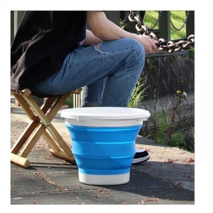 Baldi Boleh  Lipat  10L,  Outdoor Folding Collapsible Silicone Bucket Camping Fishing Travel Car Barrel