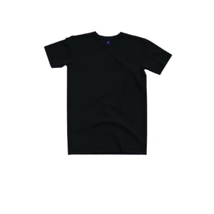 Tigac Black Plain Round Neck Regular Fit Short Sleeve T-Shirt