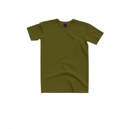 Tigac Army Green Plain Round Neck Regular Fit Short Sleeve T-Shirt