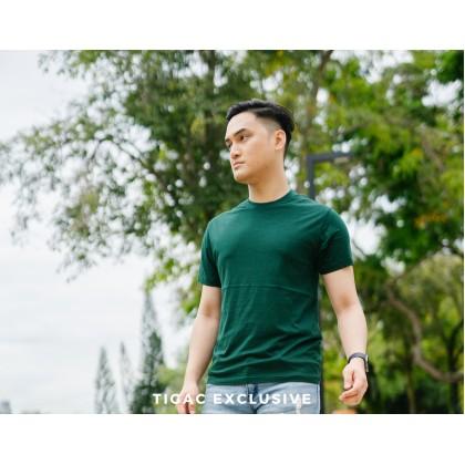 Tigac Dark Green Plain Round Neck Regular Fit Short Sleeve T-Shirt