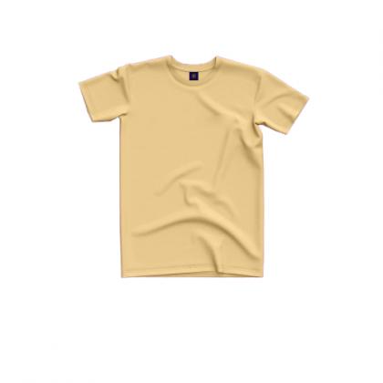Tigac Beige Plain Round Neck Regular Fit Short Sleeve T-Shirt