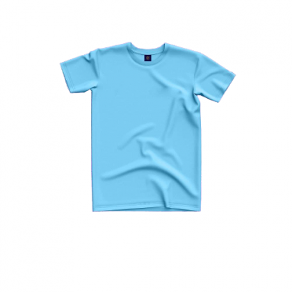 Tigac Light Blue Plain Round Neck Regular Fit Short Sleeve T-Shirt