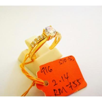 Cincin Batu Wanita emas 916 2.14 gram saiz 10.5