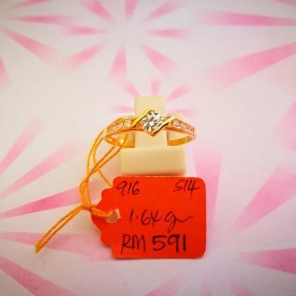 Cincin Batu Wanita emas 916 1.64 gram saiz 14