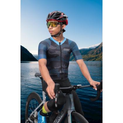 Jersi Basikal Biru Camo Blue Pro Apparel Cycling Jersey