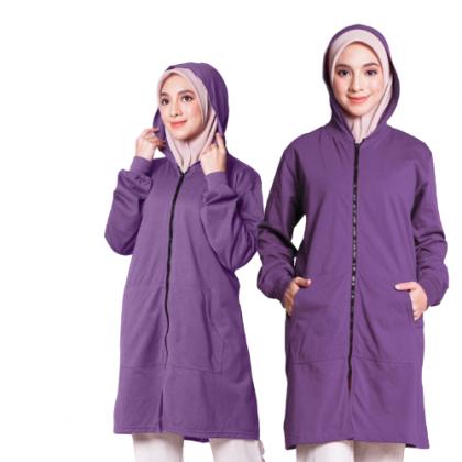 Hoodie Labuh Muslimah Ungu Dusty Purple